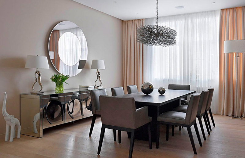Choose-Interesting-Dining-Room-Wall-Decor-and-Reflective-Cabinets-facing-Grey-Chairs-and-Long-Dining-Table.jpg