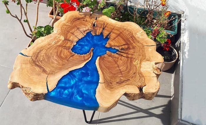 میز عسلی رزینی مدل افرا