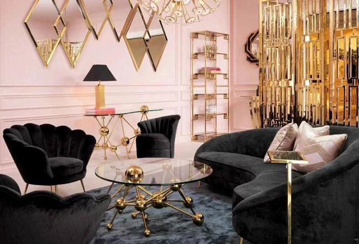 طراحی دکوراسیون مشکی طلایی منزل